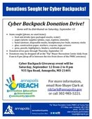 Cyber Backpack Donation Drive flyer