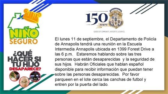 El lunes 11 de septiembre en la Escuela Intermedia Annapolis ubicada en 1399 Forest Drive las 6 .m.