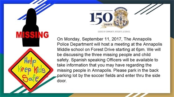 Meeting - Monday, September 11 at Annapolis Middle School, 1399 Forest Dr