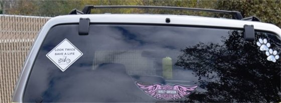 Actual Vehicle - Rear window stickers