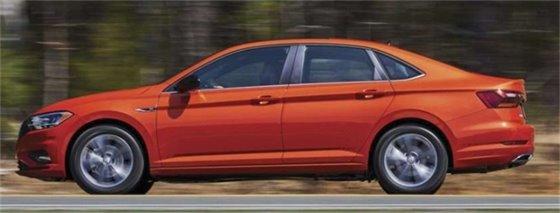 Vehicle Blue may be driving - orange 2019 VW Jetta VA reg. UWF2115