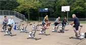 outdoor cycling fitness class PMRC basketball courts