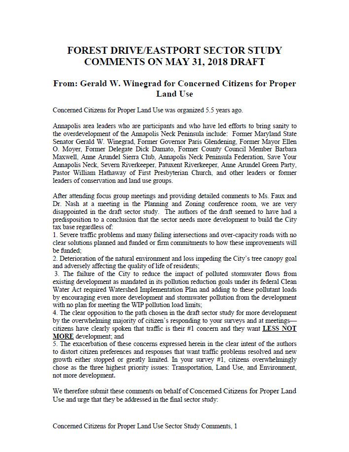 Concerned Citizens for Proper Land Use 7-9-18