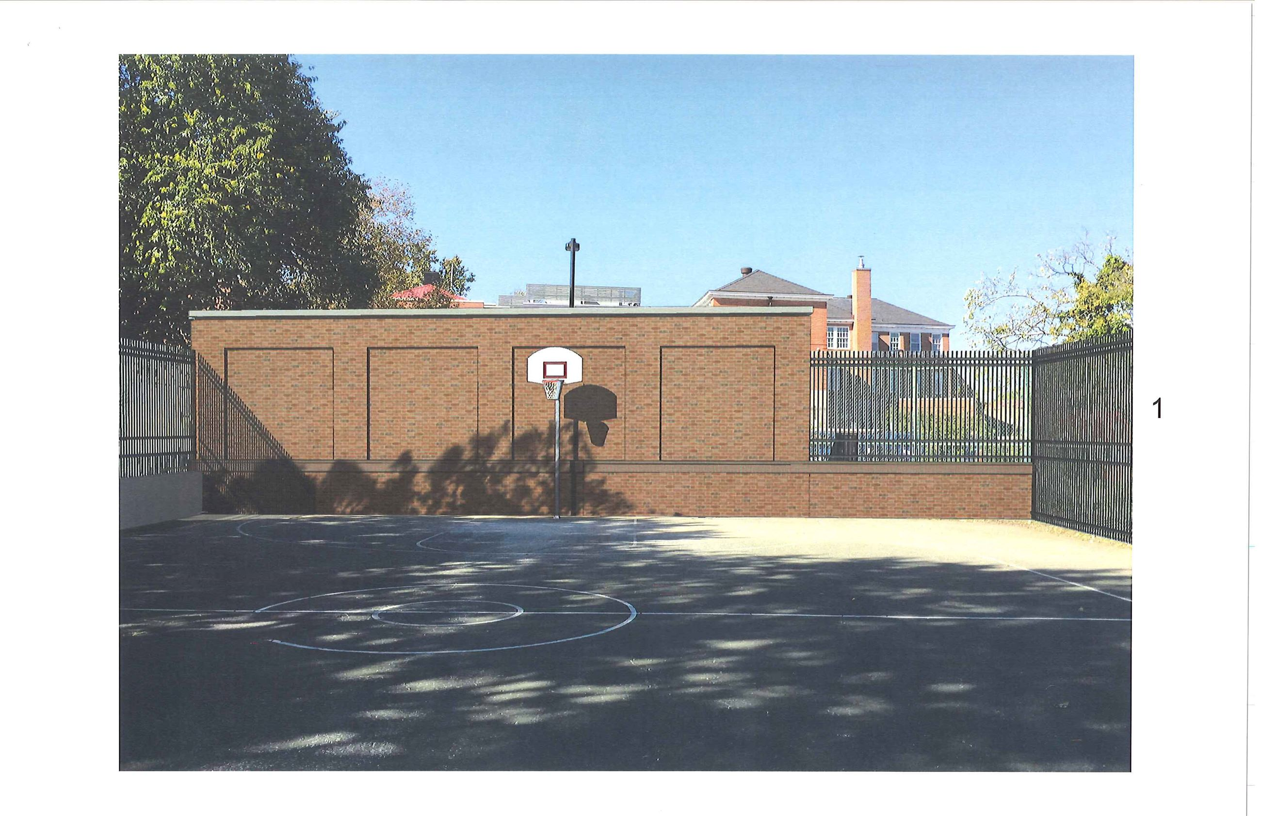 Proposed Pump Station Elevation from Bball Court 20181126