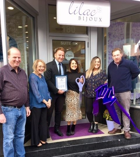 Mayor Buckley presents citation at Lilac Bijoux grand opening