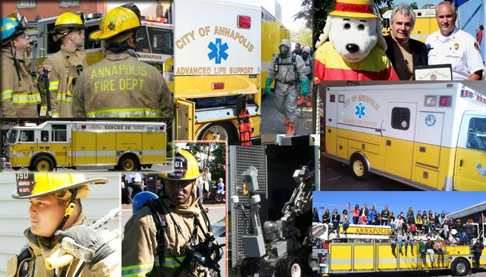 A collage of photos of firemen working.