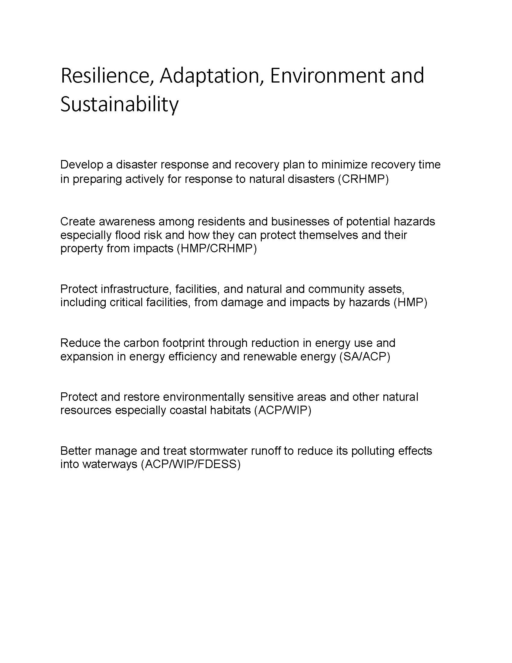 Resilience, Adaptation, Environment and Sustainability Goals