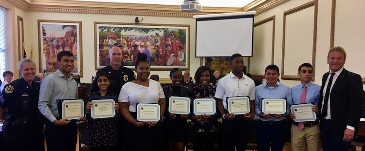 APD Scholarship winners at City Hall.