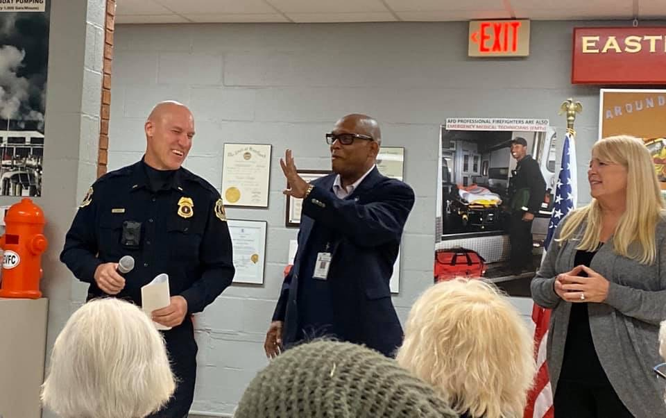 Chief Jackson with Lt. Krauss at a community meeting.
