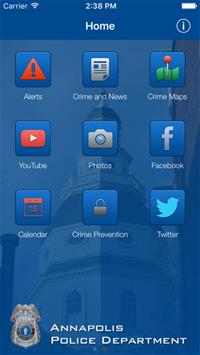 Police Department App Home Screen