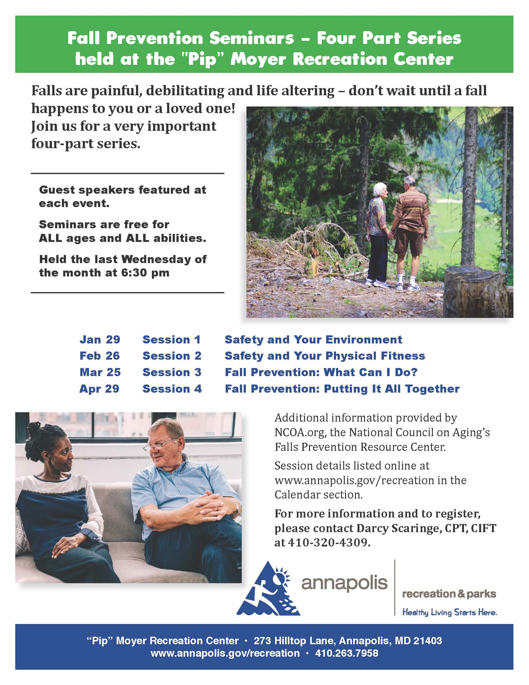Fall Prevention Four-Part Seminar Series 2020 flyer