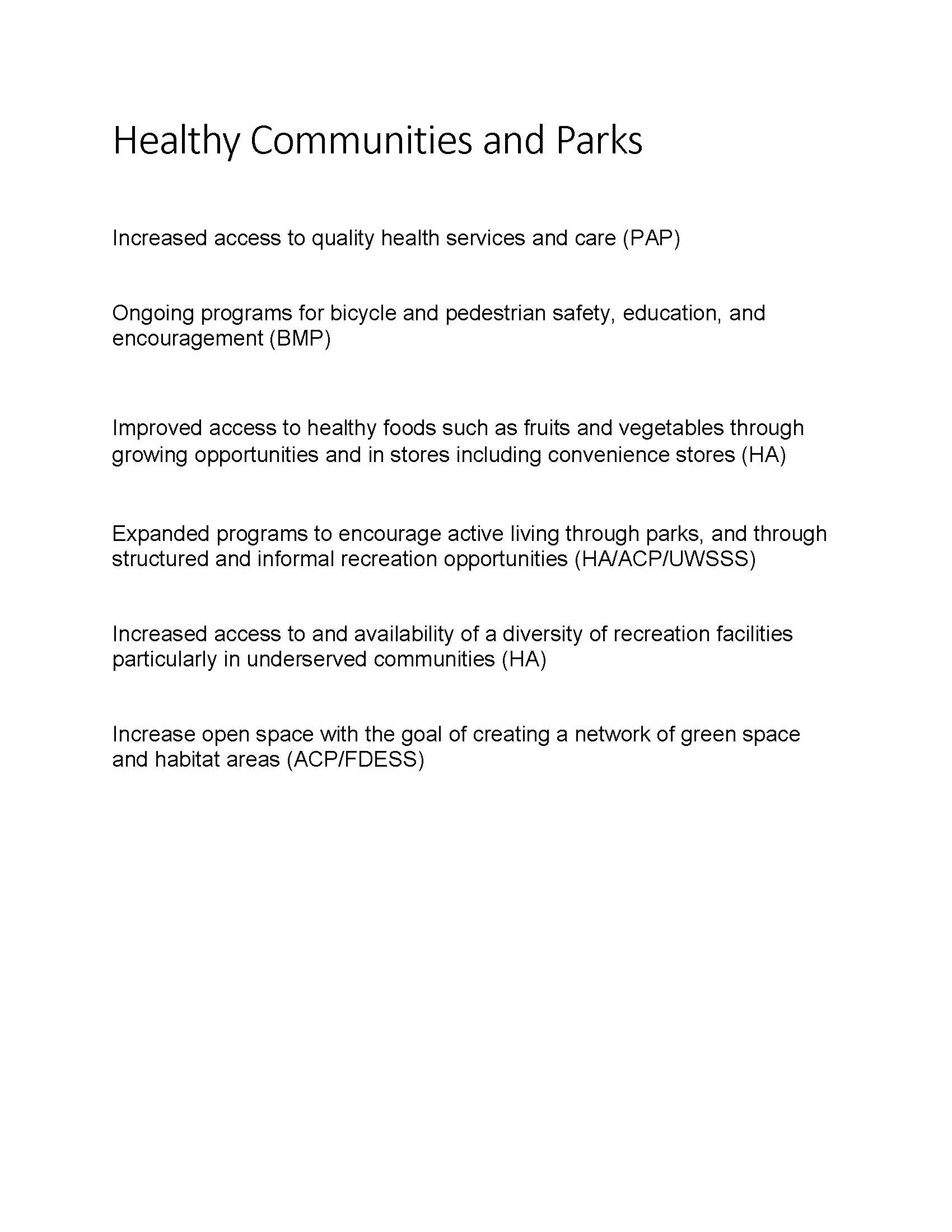 Healthy Communities and Parks Goals