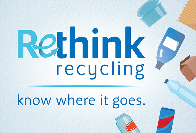 Rethink recycling know where it goes banner