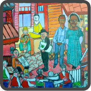 Mural with Abstract People of all Races on a Street