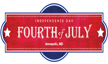 Text that reads 4th of July Annapolis Welcome back with a firework