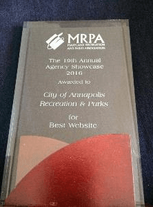 MRPA Award City of Annapolis Recreation & Parks for Best Website