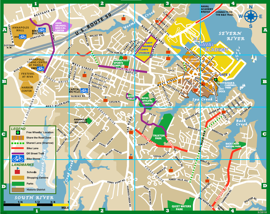 Map Of Annapolis Md Annapolis Bike Map | Annapolis, MD