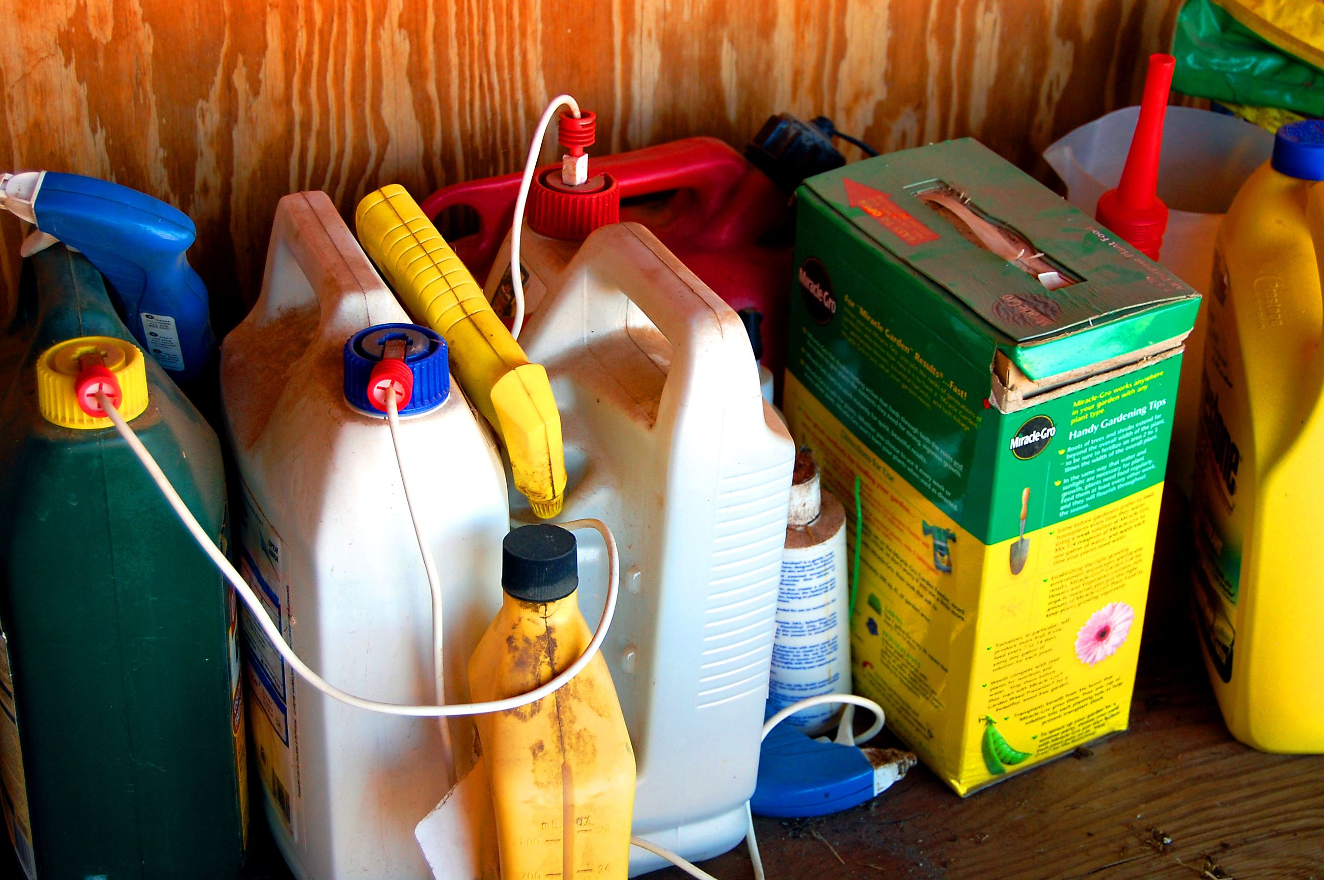 shelve of various chemicals and pesticides