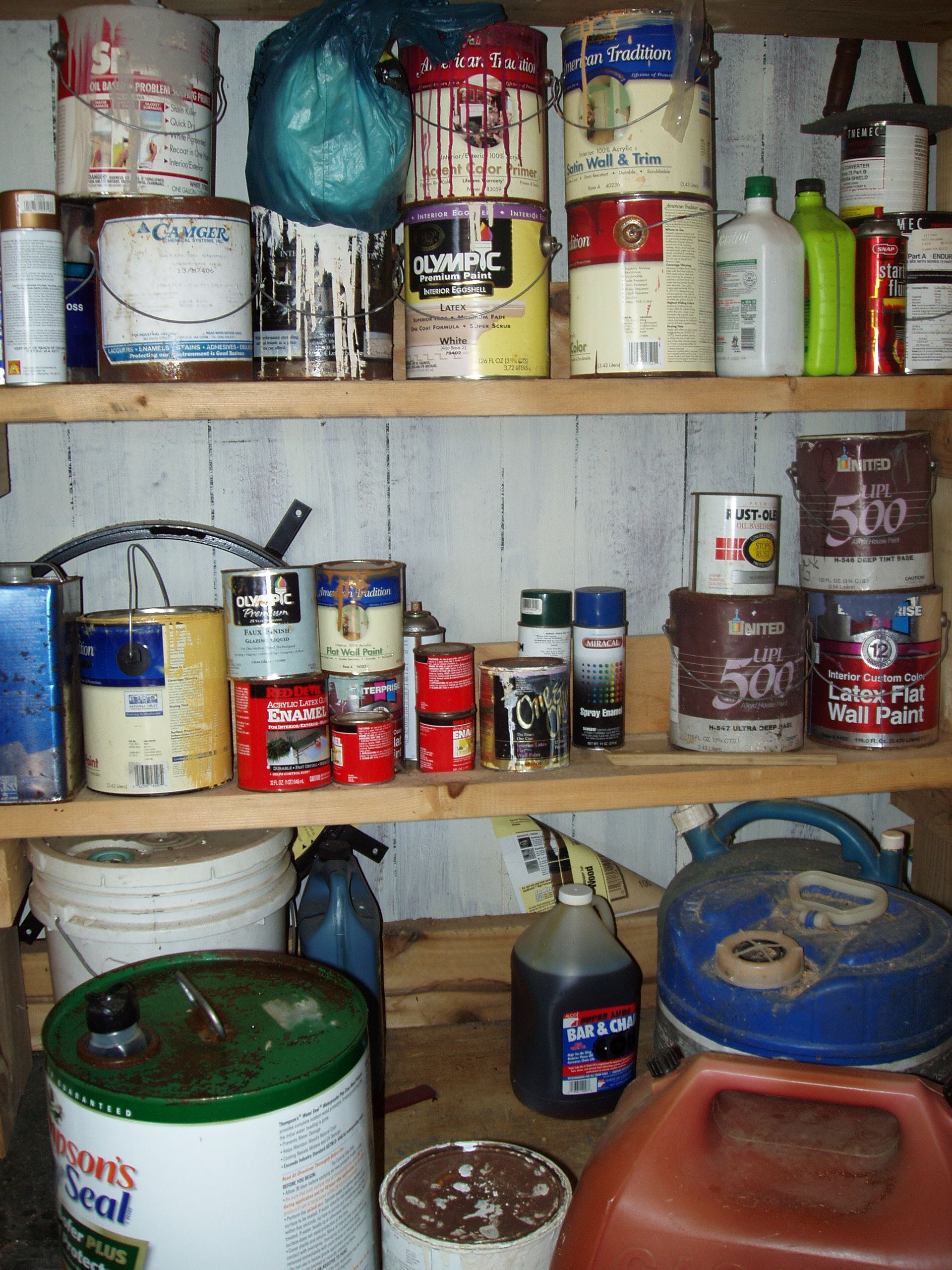 shelf of paints, lacquers, thinners