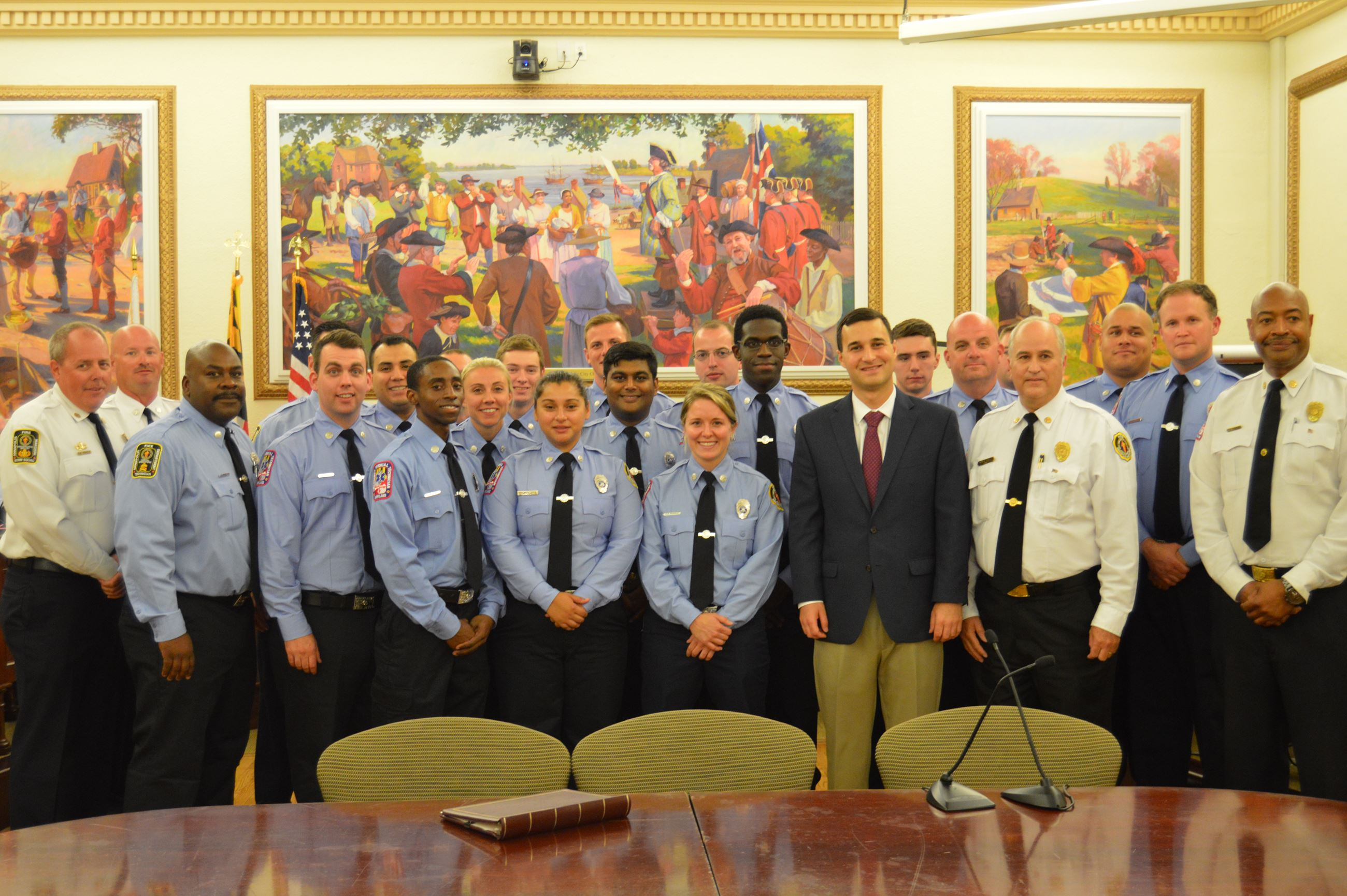 Mayor Pantelides with members of AFD and OEM at City Council Chambers