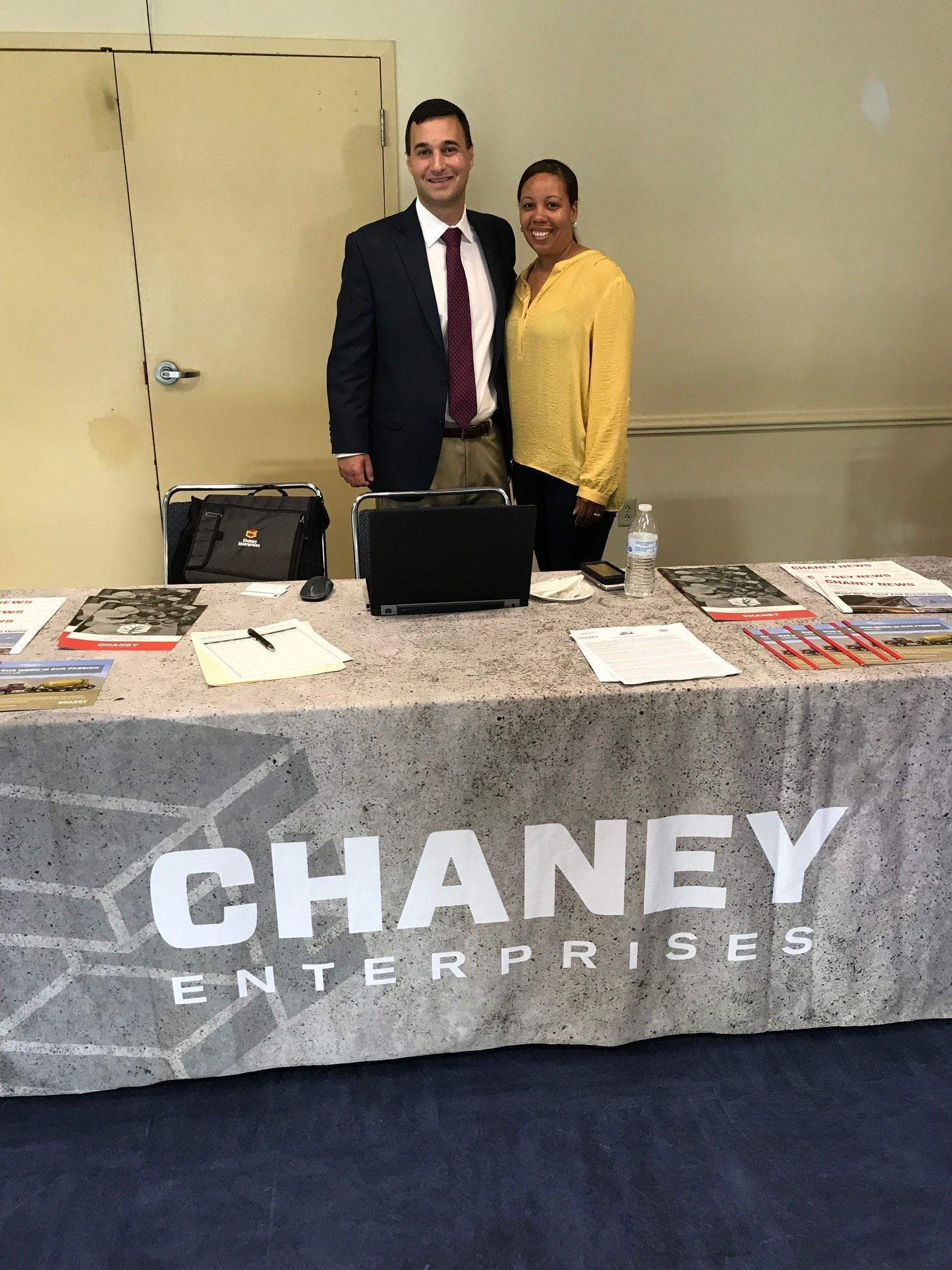 Mayor Pantelides with a representative of Chaney Enterprises