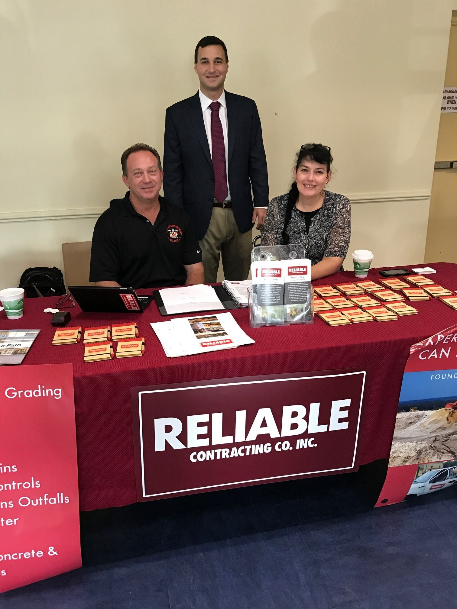 Mayor Pantelides with representatives of Reliable Contracting Co. Inc.