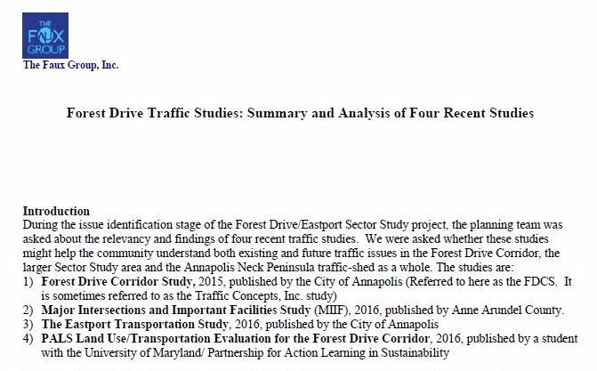 Forest Drive Traffic Studies Memo