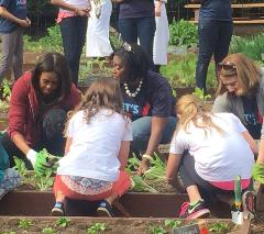 Women Gardening with the First Lady Michelle Obama